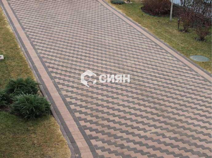 Фото мощения дорожек и площадок тротуарной плиткой из бетона. г. Москва, частные владения.